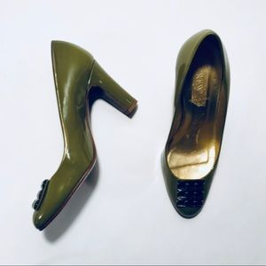 J. Crew Olive Patent Leather Embellished Pumps